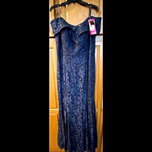 Blue Floral Print Lace Dress